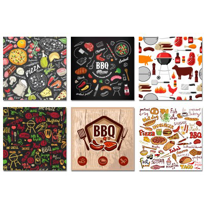 Image Assortiment de 12 paquets de serviettes de table BBQ, 6 modèles différents, 30 serviettes par paquet