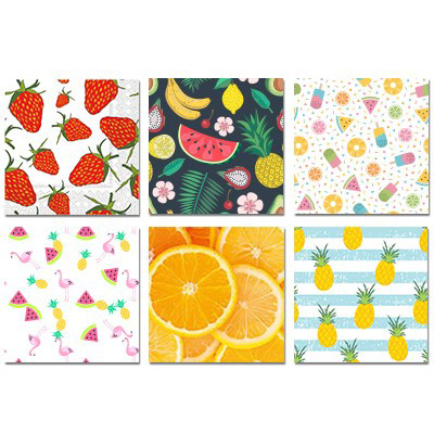 Image Assortiment de 12 paquets de serviettes de table Fruits, 6 modèles différents, 30 serviettes par paquet